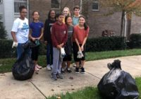 Leo club members at roadside cleanup